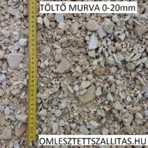 Töltő útépítési murva szállítás poros murva ár 0-20 mm.